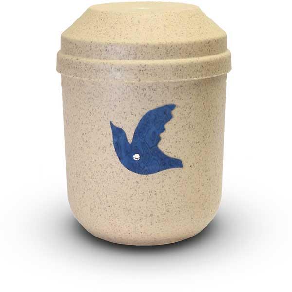 Bio Urne sandfarben mit Taube