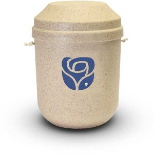 Bio Urne sandfarben mit Rose