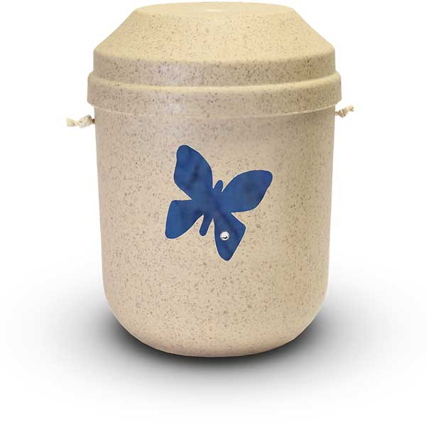 Bio Urne sandfarben mit Schmetterling