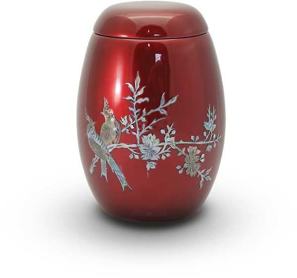 Glasfaser Urne rot mit Motiv Vogel auf Zweig