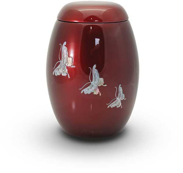 Glasfaser Urne rot mit Motiv Schmetterlinge