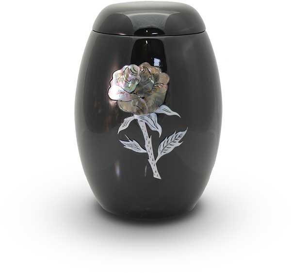 Glasfaser Urne schwarz mit Rosenmotiv