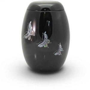Glasfaser Urne schwarz mit Motiv Schmetterlinge