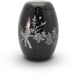 Glasfaser Urne schwarz mit Motiv Vogel auf Zweig