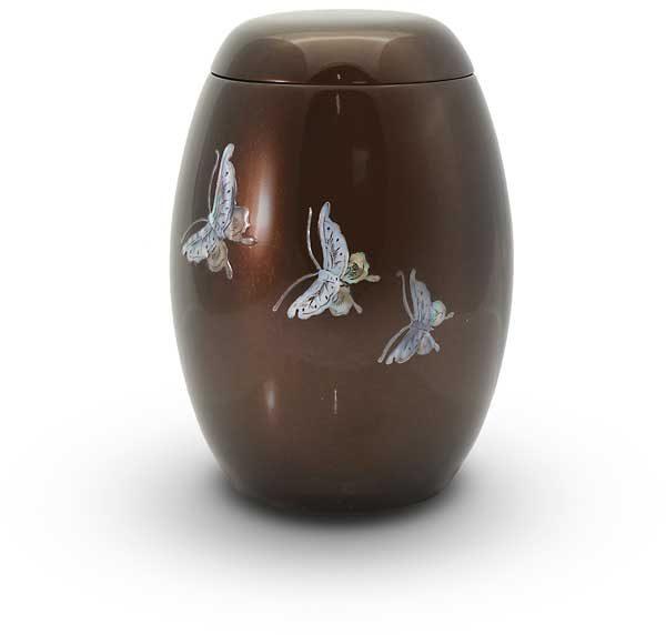 Glasfaser Urne braun mit Motiv Schmetterlinge