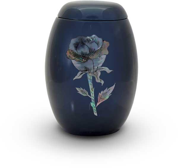 Glasfaser Urne blau mit Rosenmotiv