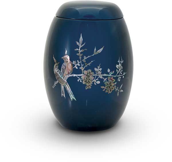 Glasfaser Urne blau mit Motiv Vogel auf Zweig