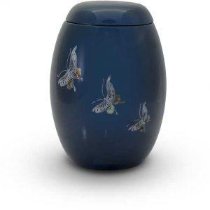 Glasfaser Urne blau mit Motiv Schmetterlinge