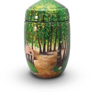 Glasfaser Urne mit Motiv Wald