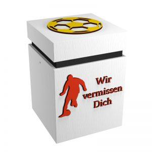 Fußball-Urne Stuttgart weiß/schwarz/rot/gelb WvD