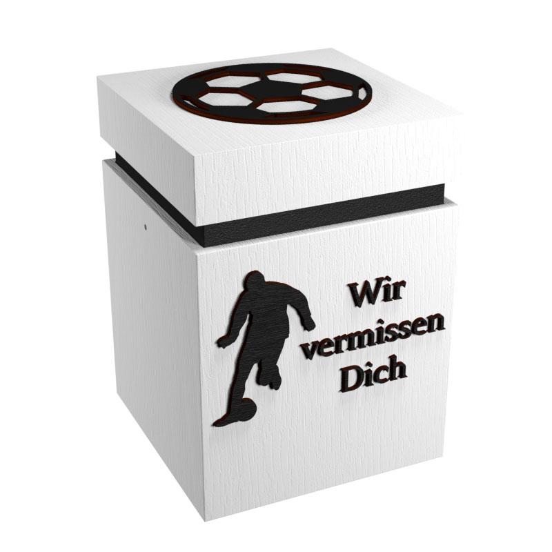 Fußball-Urne Stuttgart weiß/schwarz