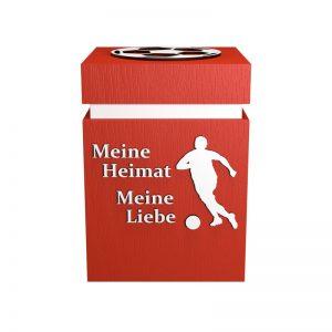 Fußball-Urne Düsseldorf hellrot/weiß MHML