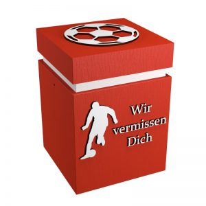 Fußball-Urne Mainz hellrot/weiß WvD