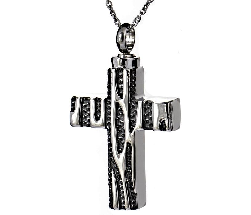 Kreuz in den Farben Schwarz und Silber mit Muster