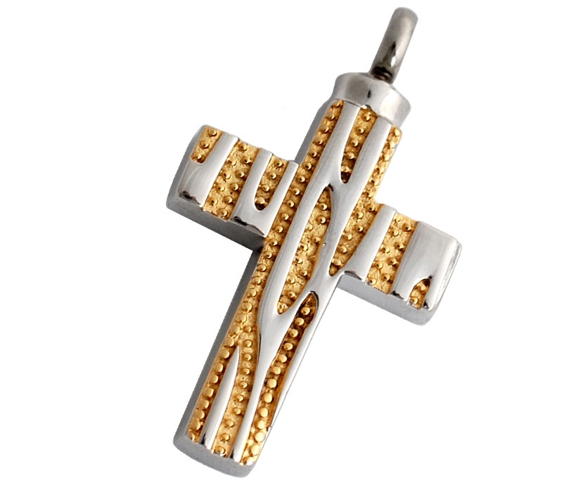 Kreuz in den Farben Gold und Silber mit Muster