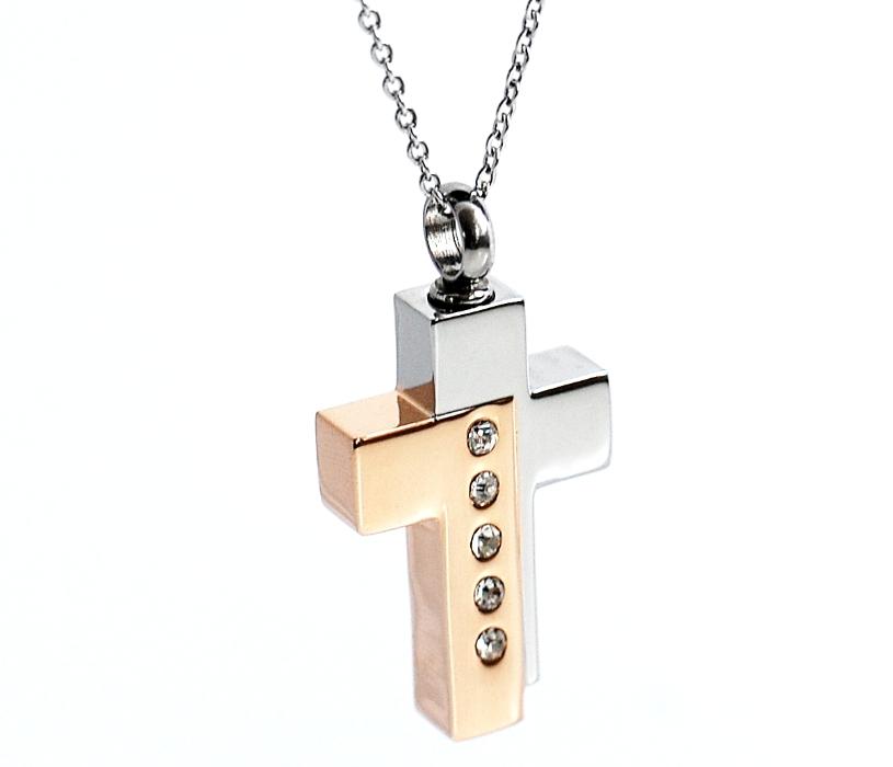 Kreuz hochglänzend Farbe Gold Silber mit Zirkonia Steinen besetzt