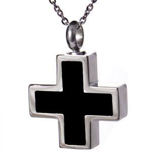 Anhänger Kreuz glänzend, silber schwarz