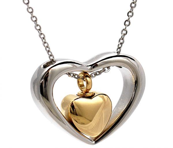 Anhänger zweiteiliges Herz Silber Gold
