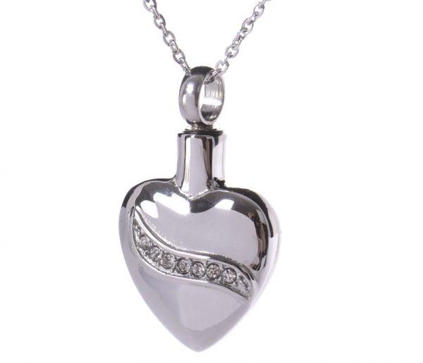 Anhänger glänzendes Herz mit Zirkonia Steinen verziert